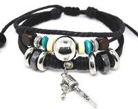 Wholesale New Arrive Vintage Alloy Cow Leather Bracelets For Women Free Shipping 24pcs/lot
