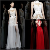 2013 Latest Hot Sale Sexy A-Line high appliques sashes separated backless free shipping Sexy  Prom Dress
