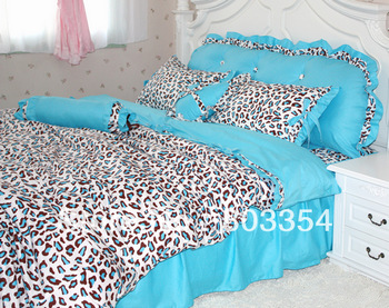 FREE Shipping, Blue Leopard Print Bedding, Ruffles Bedskirt Bedding, Matching Accessories are Sale, Sky Blue Bedding Set