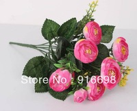 Free Shipping (10pcs/lot) 7heads 13inch Artificial silk Camellia  Flower Bouquet  for Wedding home Decoration