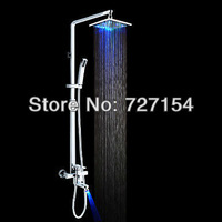Free shipping Color Changing LED Shower Faucet with 8 inch Shower Head and Hand Shower