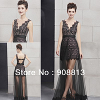 Free Shipping Lace Net V-neck Backless Beaded Sexy Black Lady Prom Dress 30031