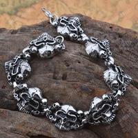 Free Shipping! Gothic Stainless Steel Evil Multi Skull Heads Bracelet MEB194