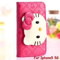 Top Quality Leopard PU leather case 3D hello kitty Wallet Glowing Stand Case With Cards Cover For iphone5 5G Free shipping 1pcs