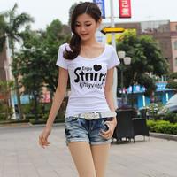 2013 slim women's basic shirt o-neck letter print 100% cotton short-sleeve T-shirt female