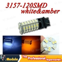 HK POST FREE!!! 3157 120 SMD 1210 3528 LED Dual Color White & Amber Car Brake Turn Signal LED bulb 12V 4pcs/lot #YNE03