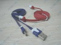 Colourful  Micro 5 Pin Noodles Flat Sync USB Data Cable For Samsung S3 S2 HTC One S Blackberry Nokia Sony LG 100pcs/lot