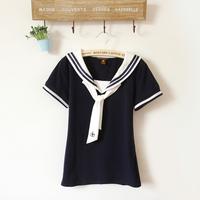 Navy style t-shirt female navy short-sleeve shirt navy style shirt preppy style young girl school wear summer