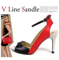 wholesale price  2014 new arrival Two pieces strap high heels lady pumps sandals for women stripe sexy dress casual shoes 3818