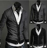 Man's Sweater  Korean Fake Pocket Style Wool Flock Men Sweater Slim Fit Coat Dark Grey Black