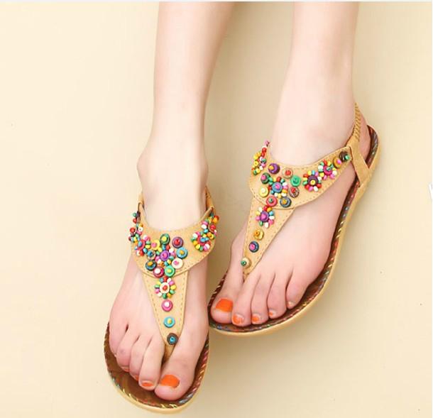Womans New Arrival Moda Verão Estilo Boho Multicolor perla sapatas lisas sandálias frete grátis(China (Mainland))