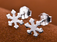 Fashion jewelry Real 925 sterling silver earrings Fashion Snow Flower stud earring (if fake- triple refund)