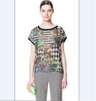 2013 Women's  Free Shipping Individual Birds Pattern Printed Leisure Blouse Black  Size S/M/L CS13053001