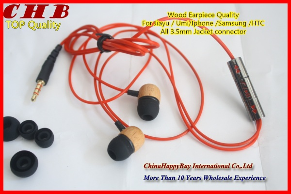 Free shipping new Original In-ear Top quality Mic+Answer the phone+Volume control wood earphone 3.5mm for JIAYU G3 G4 UMI X2(China (Mainland))
