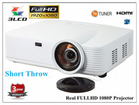 Real Full HD 2800 ansi lumens support 3D analog TV for High-end Home theater short throw projector