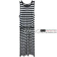 Fashion stripe long ultra long paragraph tank 2c08 plus size available
