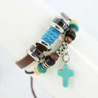 2013 New Fashion Multi layer Tribal Cuff Bracelets Turqouise Cross Wooden Beads Charm Geniune Leather Womens Mens Bracelet B037