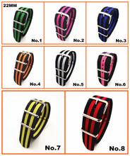 Wholesale 10PCS lots High quality 22MM Nylon Watch band NATO waterproof watch strap fashion wach band