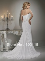 QN130530-0909  Classical Strapless Chiffon and Satin with Beading Sash Bridal Dresses