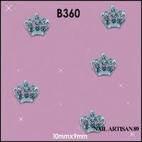 100pcs/lot Silver Crown Nail Art 3D Rhinestone Pearl Metal Acrylic Crown Decoration For Nails #B360