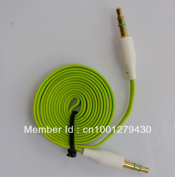 Free shipping 3.5mm to 3.5mm Audio green  color Flat line/noodles Cable/ Audio Extension cord cable
