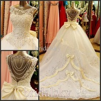 Bateau Appliques crystals Bow Backless A-Line Chapel Train Wedding Dresses Bridal Gowns J-542