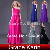 Grace Karin One Shoulder Long Evening Dress Formal Prom Gown Women Chiffon Dress Purple/Black/ Deep Pink/ Blue/Grey CL4107