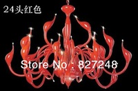 Wholesale sa-9 new items design 24*20w swan lamp 220v to 12v transformer gu4 iron lighting chandelier red color free shipping