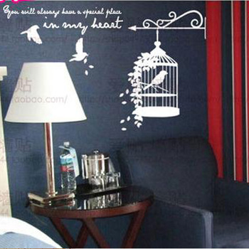 Free Shipping Fly Bird Cage Living Room Bedroom Decor Mural Art Vinyl Wall Sticker Home Decoration Decal W613