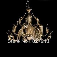 Wholesale lamps design 220V 110v g4 12v 12*20w halogen bulbs headlamps swan lamp modern iron chandelier lights golden color xml