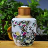 Jingdezhen ceramic tea caddy pastels, pengs twin canister