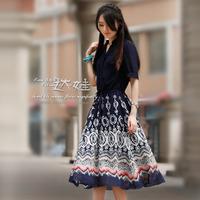 2013 spring and summer women's chiffon one-piece dress midguts slim vintage short-sleeve skirt