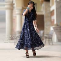 Chiffon one-piece dress full dress short-sleeve dress long design vintage women's skirt
