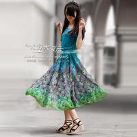 Spring and summer women's bohemia chiffon one-piece dress medium-long skirt short-sleeve chiffon skirt peacock