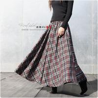 2012 spring and autumn full dress expansion skirt bust skirt plaid pattern
