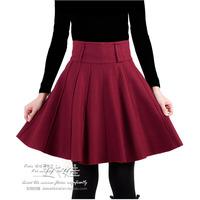 Expansion skirt pleated skirt winter skirt woolen short skirt