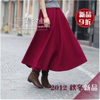 2012 bust skirt woolen full dress thickening skirt claretred
