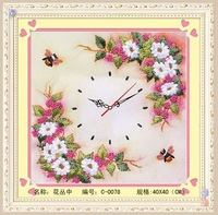 Free shipping Watch color paintings ribbon embroidery stitch kit 3D flowers in the living room wall clock printing