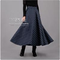 Woolen floral print skirt bust skirt full dress navy blue