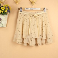 2013 spring new arrival dot bow chiffon shorts culottes legging women's expansion bottom short skirt