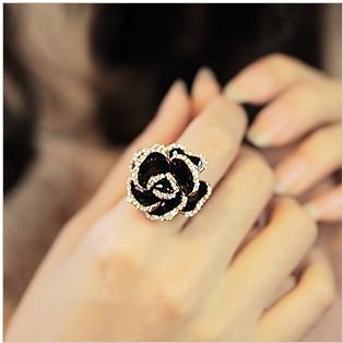 2014 Fashion Open Ring Women Vintage Water Black Rose Flower Ring XY-R95 17mm size(China (Mainland))
