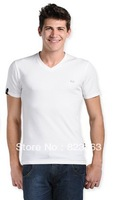 Men's summer combed cotton round neck solid color Slim short sleeve t-shirt (Size:S M L XL) Free shipping