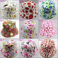 summer unisex kid bucket hat, children sun beach hat, baby top hat, multiple design, 10pcs/lot, free shipping
