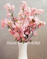 Romantic Sakura!Free Shipping(6pcs/Lot)Hig Quality!Soft Silk Sakura Flower,Long Stem,total about50pcs Flowers,2C can Mix Per Lot