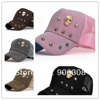 2013 New Fashion Mesh /Trucker / Baseball Hat Cap With Skull Rivet Hip-hop Punk Caps 5pcs/lot adult sun hats free shipping