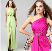 Open fork sister skirt in the summer of 2013 with couple colour backless one shoulder bridesmaid dress long toast the bride