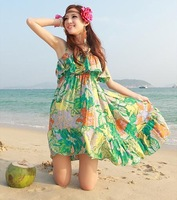 2013 bohemia chiffon spaghetti strap ruffle dovetail one-piece dress beach dress skirt