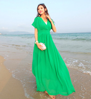 New arrival 2013 fairy bohemia beach dress chiffon V-neck solid color full dress mopping the floor short-sleeve dress