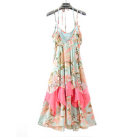 2013 summer women's bohemia full dress beach dress suspender skirt chiffon print one-piece dress