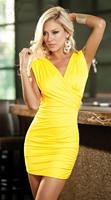 Free Shipping yellow Classy Chic Sexy women Mini dress free size